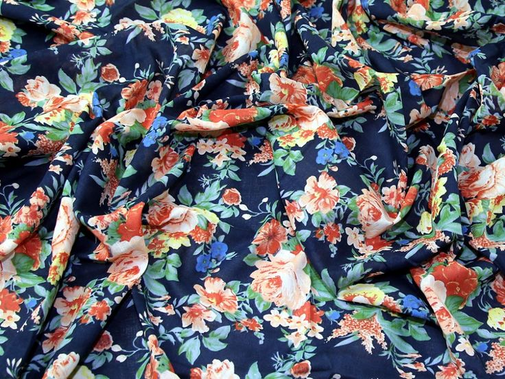 Vintage Style Floral Print Fine Cotton Voile Dress Fabric | Fabric | Dress Fabrics | Minerva Crafts