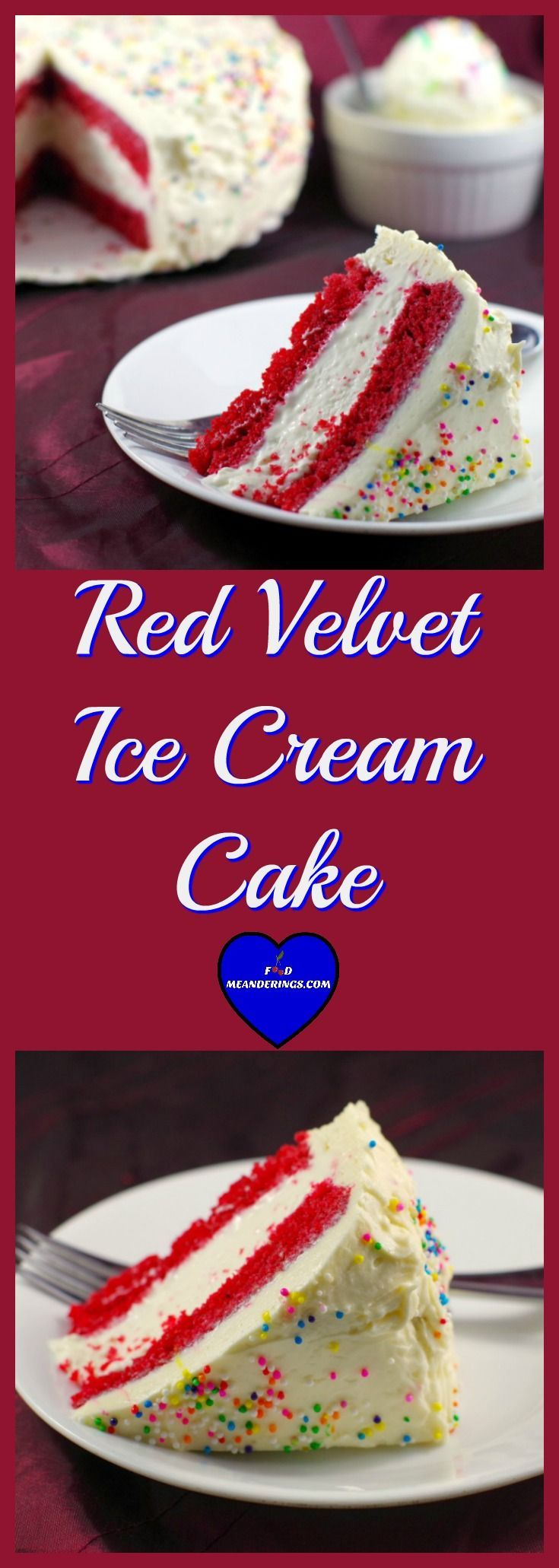 This red velvet cake has layers of pillowy, fluffy and light Red velvet cake cushioning an easy no churn cream cheese ice cream filling, all smothered in dreamy creamy white chocolate cream cheese icing.