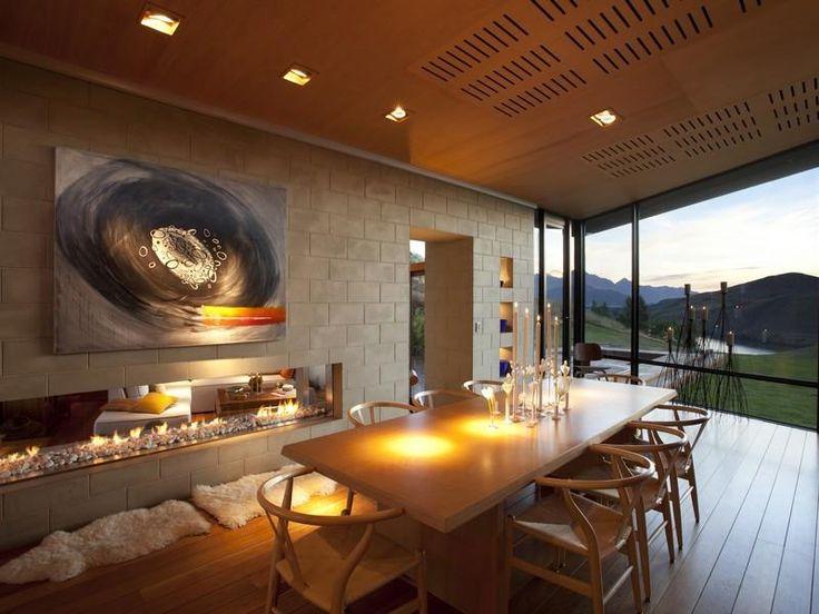 Modern Dining Room Letterbox Fireplace Stunning Modern