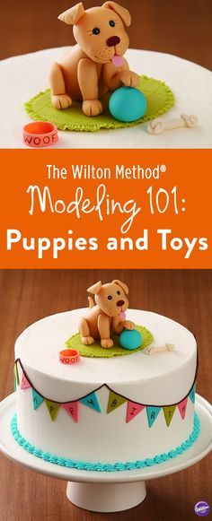 How to Make Fondant 3D Characters: Sign up for a Wilton class on Modeling 101: Puppies and Toys to learn the basics of character figure modeling. Expand your knowledge of fondant, or use Wilton's Shape-N-Amaze Edible Decorating Dough to create this adorable puppy and his toys. Learn how to size and shape parts, as well as key essentials in assembling modeled figures.