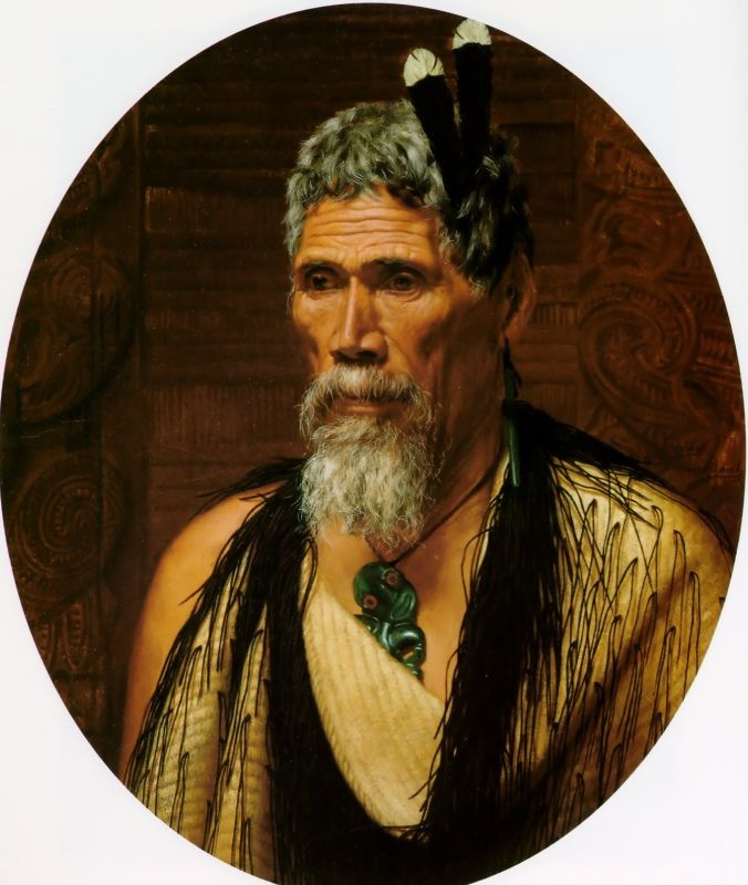 Anaha Te Rahui, the celebrated carver of Rotorua by Charles Goldie, Oil on canvas
