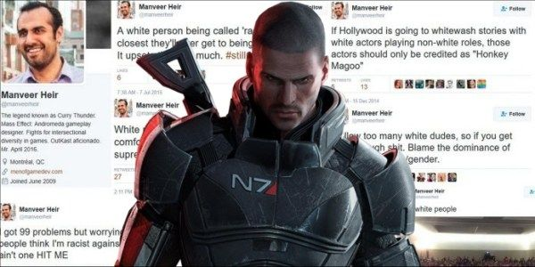 Mass Effect: Andromeda game designer Manveer Heir is pretty overtly racist and appears to be backed by several bioware directors.