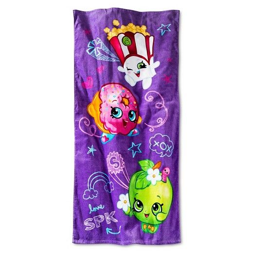 Find your favorite Shopkins friends on this amazing purple beach towel.  Perfect for the beach or pool.