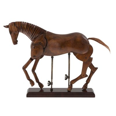 Artist Wooden Horse Model. Hand-carved from non-endangered hardwood that's been grown on a plantation. The joints are held together with traditional wooden pins, while the tail has been fashioned from horse-hair. It's decorated with a distressed French finish and stands on a solid wood base supported by brass rods. In addition to the beauty of its craftsmanship, we love that it is fully articulated and poseable. #nationalgallery #horses