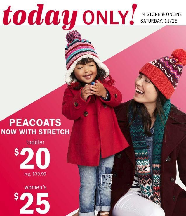 Old Navy Peacoats on Sale Today Only! Womens $25 Toddler $20!