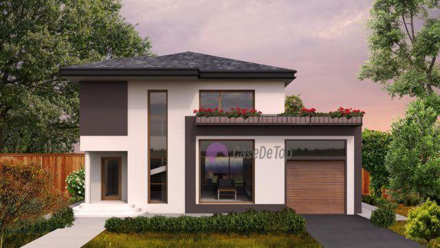 Casa moderna organizata functional pe parter si etaj- Fatada principala  Modern single-family dwelling- The main facade  Etichete: proiect casa, proiecte case, proiecte case cu etaj, proiecte case moderne, case moderne
