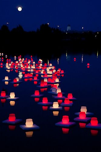 Annual Lantern Festival remembering Hiroshima and Nagasaki, Japan