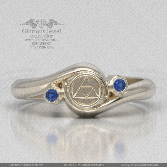 Glorious legend of Zelda hyrule triforce ring with CZ stone /