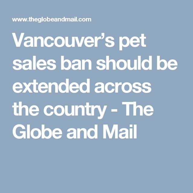 Vancouver's pet sales ban should be extended across the country - The Globe and Mail