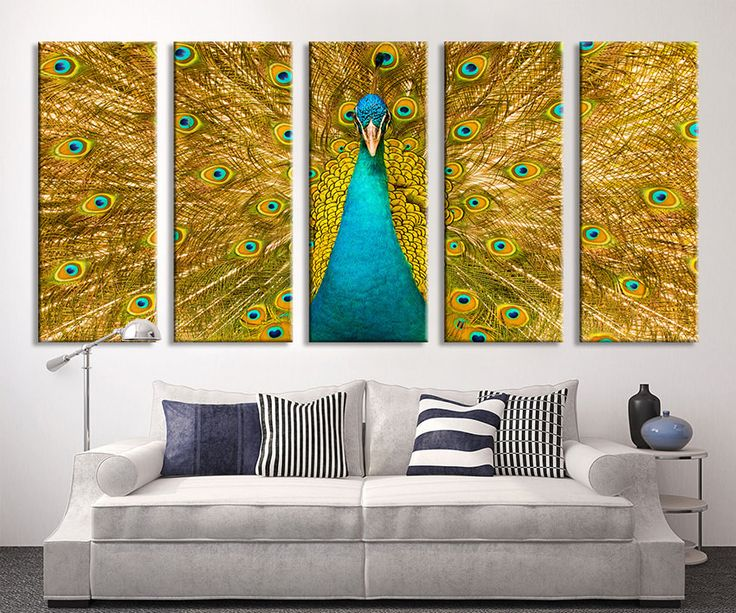 Extra Large Wall Art Peacock   Peacock Canvas Print   Large Art Peafowl Wall  Canvas Print Part 83