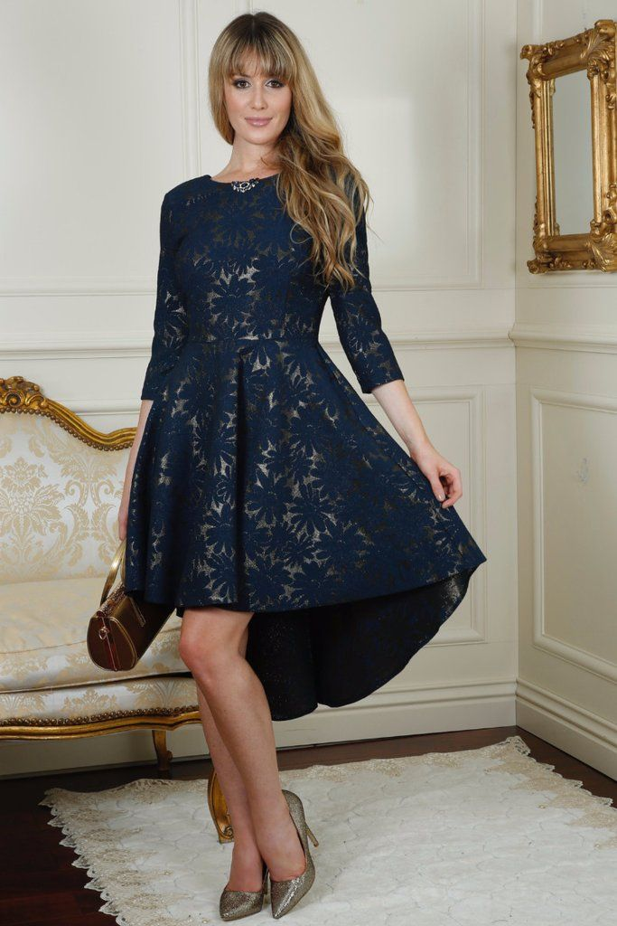 Donna Navy Dip Dress with Gold Underlay