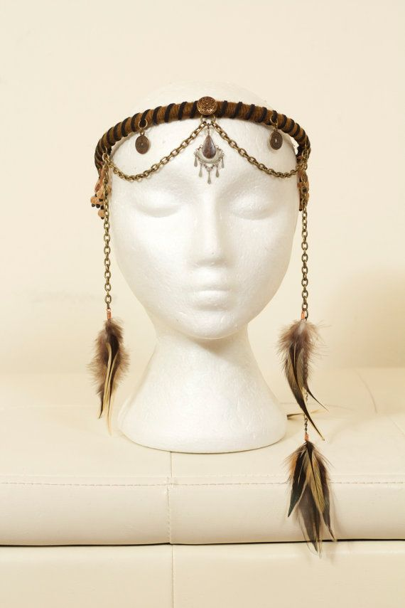 Tribal Feather Chain Headdress by lotuscircle on Etsy, $75.00