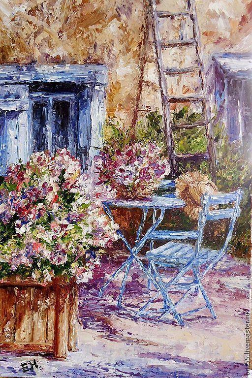 Купить Картина маслом Дворик - синий, картина маслом, картина для интерьера, живопись маслом, дворик