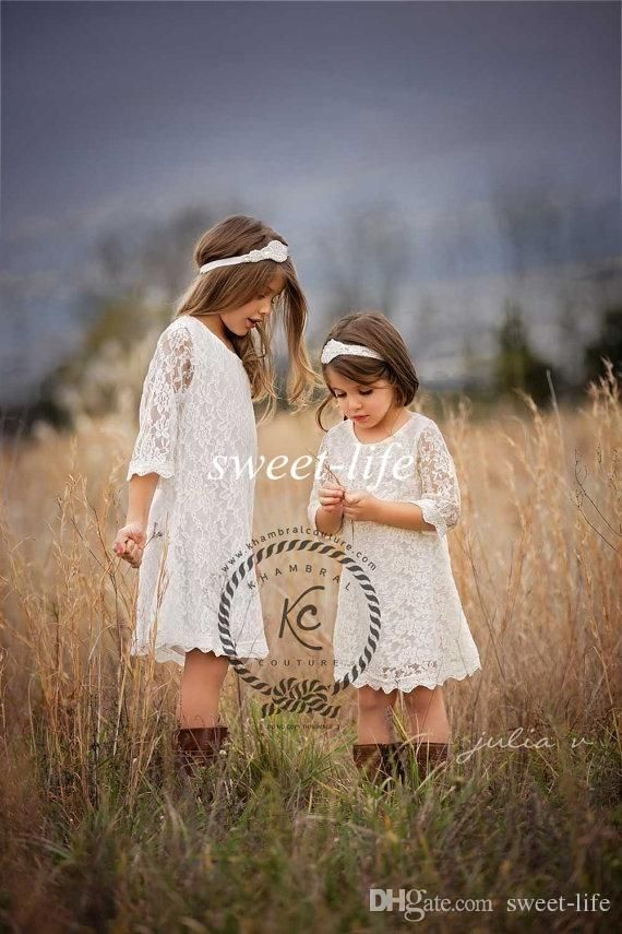 2015 Vintage Lace Flower Girls Dresses for Summer Boho Wedding Sheer Jewel Long Sleeve Knee Length Custom Made Cheap Junior Bridesmaid Dress Online with $68.0/Piece on Sweet-life's Store | DHgate.com