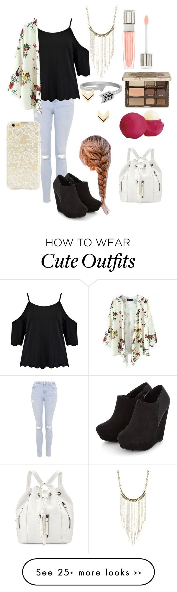 BTS outfit ideas day 24 by lilacbee on Polyvore featuring Topshop, Boohoo, Lancôme, Too Faced Cosmetics, Eos, Charlotte Russe, Jewel Exclusive, Neiman Marcus, Leslie Danzis and Forever 21