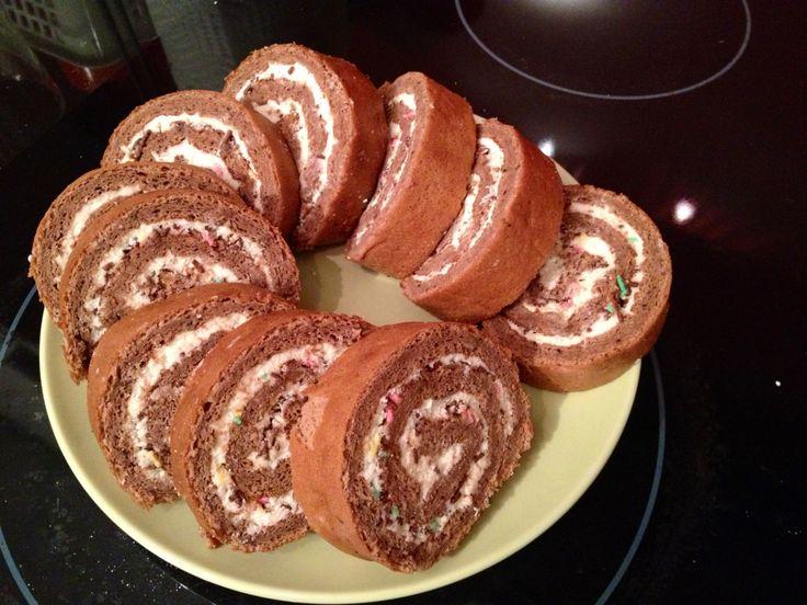 Chocolate Swiss Roll Cake #rollcake #bellesbybella