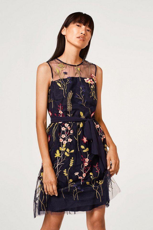 848458ba135669 ESPRIT COLLECTION Zartes Tüll-Kleid mit bunter Blumen-Stickerei für 89,99€