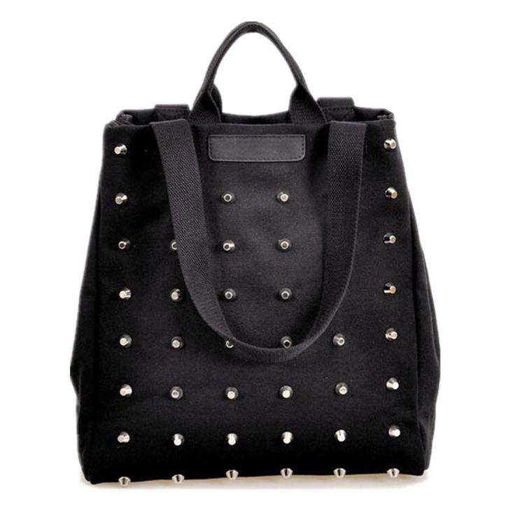 $21.26 (Buy here: https://alitems.com/g/1e8d114494ebda23ff8b16525dc3e8/?i=5&ulp=https%3A%2F%2Fwww.aliexpress.com%2Fitem%2FHot-Sale-2014-Fashion-Women-Rivet-Canvas-Handbags-Shoulder-Bags-Black-Tote-Free-Shipping%2F32238391803.html ) Fashion Vintage Rivet Shoulder Bags Black Color Handbags Canvas Tote Casual  Women Shopping Bag 2015 Super Hot for just $21.26