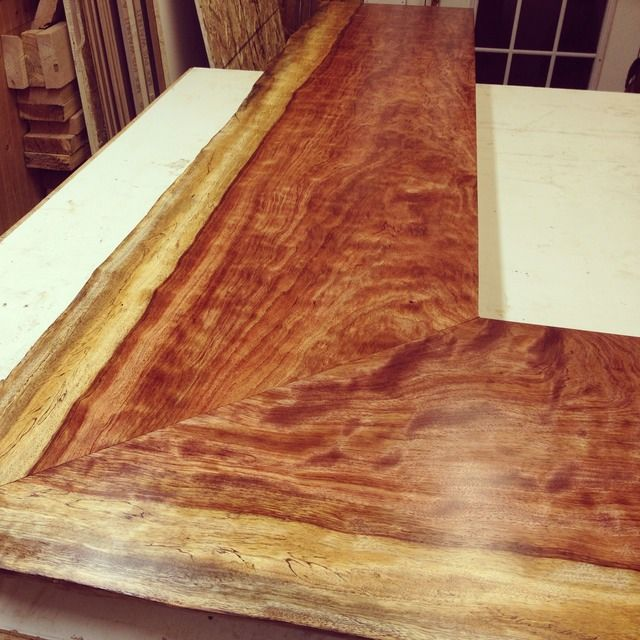 Beautiful Bubinga Miter Joint Live Edge Bar Top