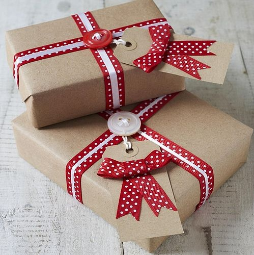 Red Ribbon Christmas Presents with buttons and brown paper