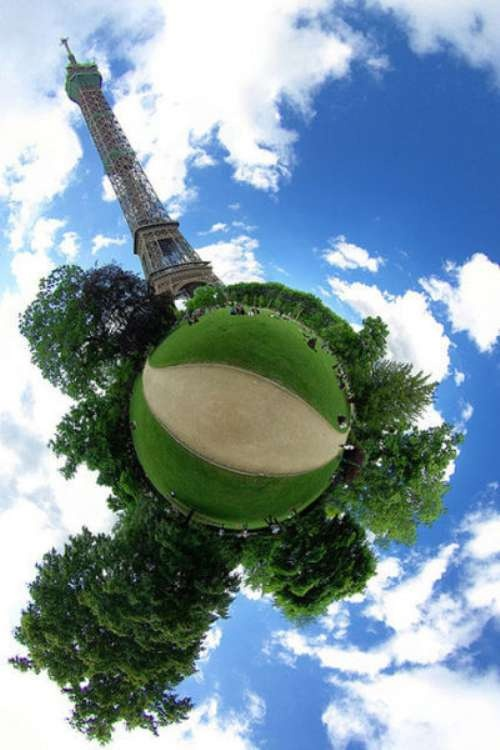 Stereographic projection photos are 360 degree by 180-degree panorama projected which gives off the illusion like you're looking at small planets.