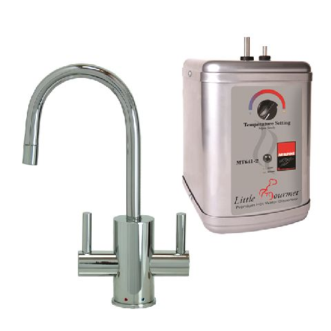 Francis Anthony Collection - Hot & Cold Water Faucet with Contemporary Round Body & Handles & Little Gourmet® Premium Hot Water Tank