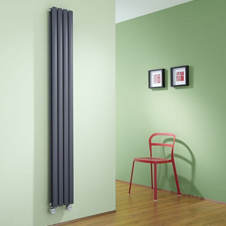 Milano Aruba Slim Electric   Anthracite Space Saving Vertical Designer  Double Radiator 1780mm X 236mm