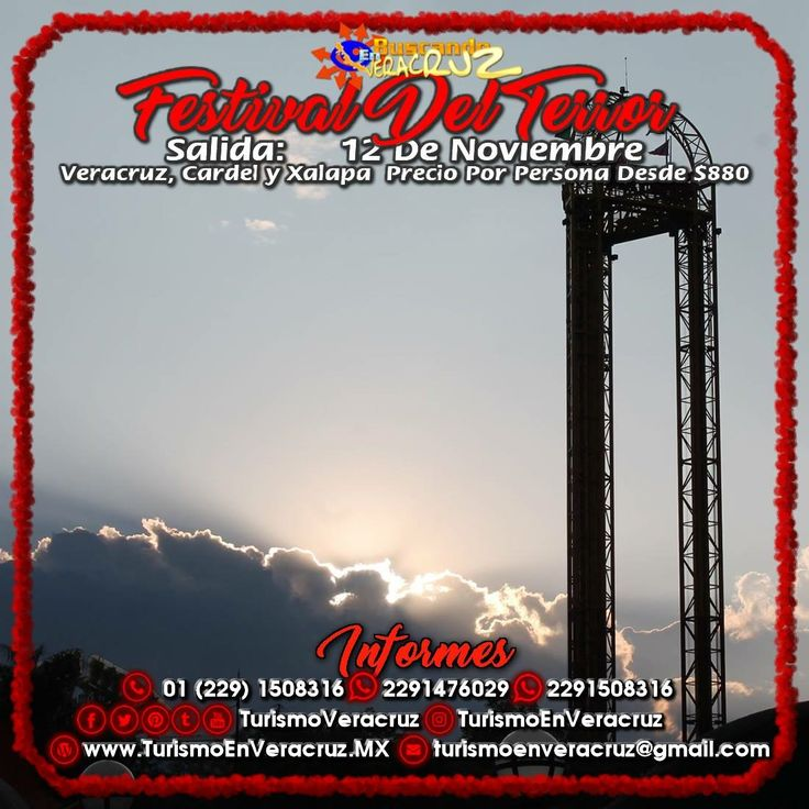 El #FestivalDelTerror De #SixFlags nos espera este 24 de septiembre, 12 de Noviembre saliendo de #Veracruz #Cardel y #Xalapa ¡ Reserva Tu Lugar YA ! Más información en: Tels: 01 (229) 150 83 16  WhatsApp: 2291476029 y 2291508316 Email / Hangouts: turismoenveracruz@gmail.com http://www.turismoenveracruz.mx/2017/10/vamos-al-festivaldelterror-este-12-de-noviembre-2017/