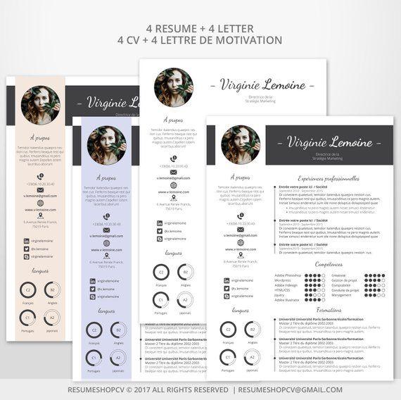 4 Cv Resume Professional Moderna E Grafica 4 Lettere Di Etsy Cv Curriculum Vitae Modele Lettre De Motivation Microsoft Word