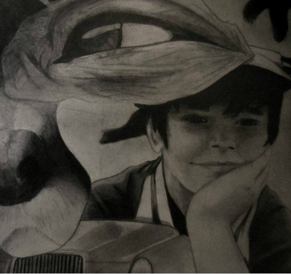 Sketch I made in college. Not my ideas for what to make it about, as I think it looks cheesy. But proud of the little boy's face, which took me days.