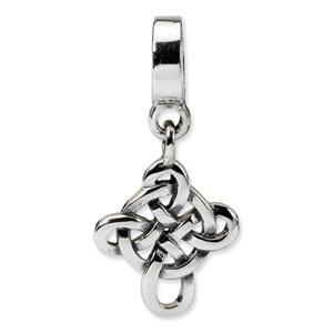 Sterling Silver Celtic Weave Cross Dangle Bead