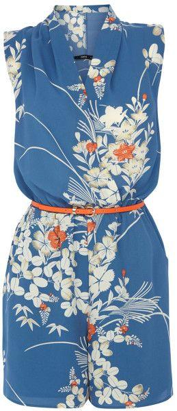 Oasis Japanese Oriental Playsuit in Blue (Multi-Coloured)