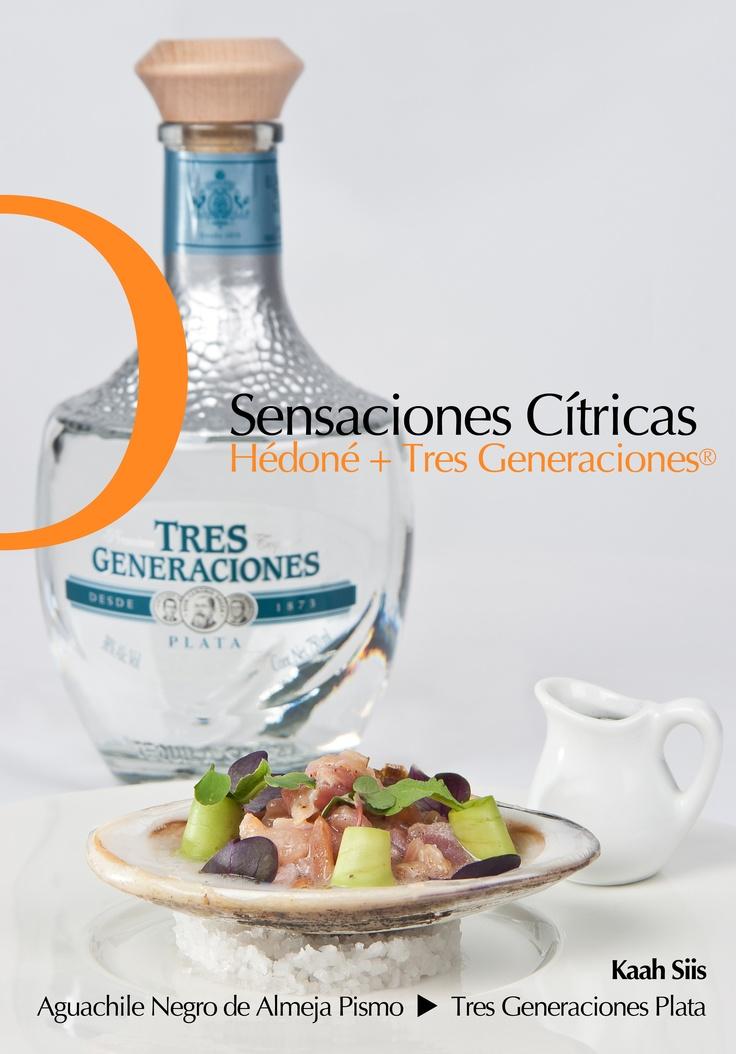 Aguachile Negro de Almeja Pismo creado por los Chefs Israel Montero y Alfredo Chávez de Kaah Siis acompañado por un tequila Tres Generaciones Blanco y equilibrado con Acqua Panna.