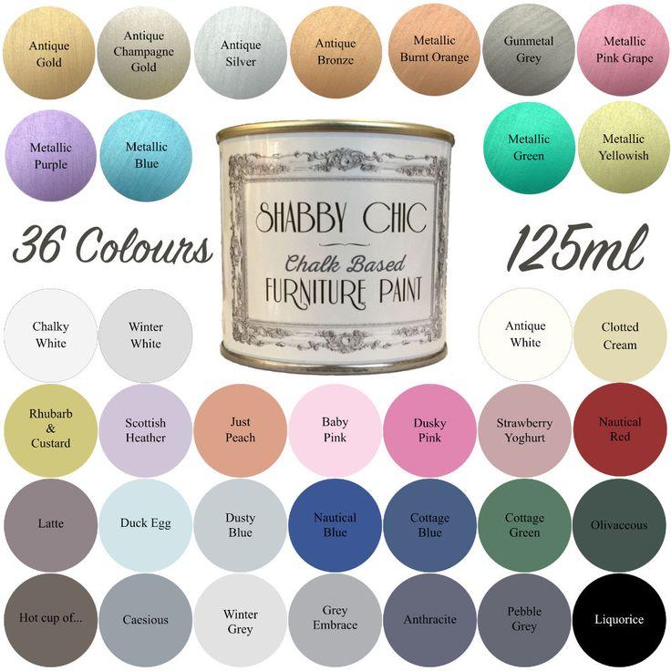 Shabby Chic Chalk Paint Pour Meubles 125ml Finition Mate Choix parmi 36  couleurs | eBay