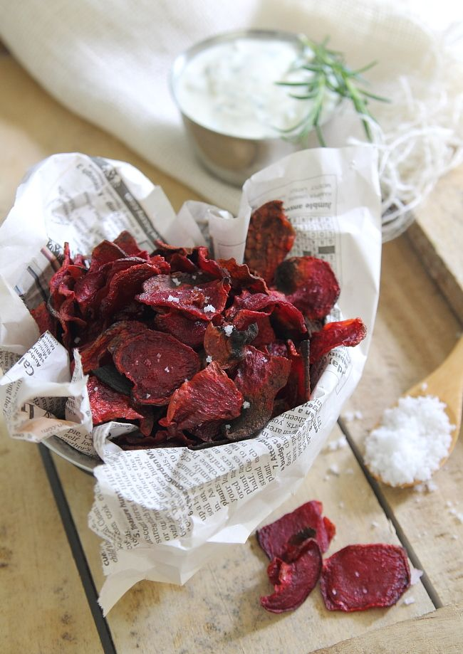 Rosemary Sea Salt  Vinegar Beet Chips.