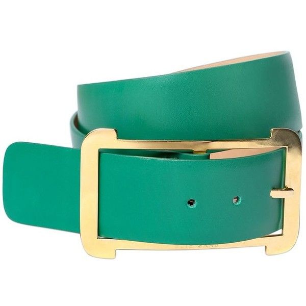Elie Saab Women 40mm High Waist Leather Belt ($240) ❤ liked on Polyvore featuring accessories, belts, green, leather belt, green leather belt, elie saab and green belt