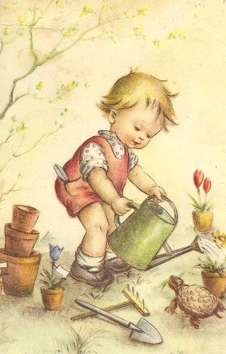 Illustration- boy with watering can