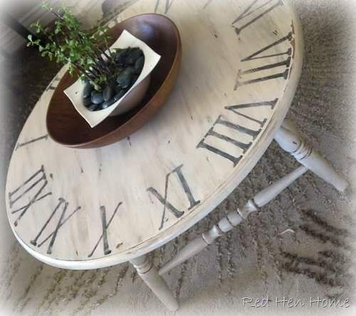 Clock table DIY - links to other similar projects by RedHenHome ~~~~  Slightly different legs...