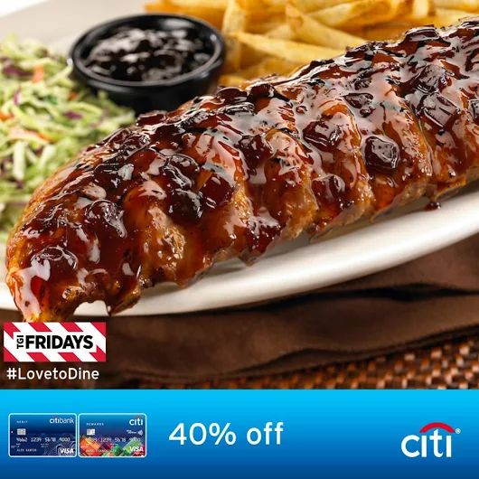 Good for 4 days only! Take advantage of this exclusive offer!  Rush to TGI Friday's and GET 40% OFF on ALL items on the menu. Just use your Citi Credit Card or Citibank Visa Debit Card for a minimum single-receipt purchase of P2,500! Discount applies to a maximum spend of P5,000.  Keep in mind that this offer is from October 3 - 6, 2016 only! Terms and conditions apply.  For more promo deals, VISIT http://mypromo.com.ph/!