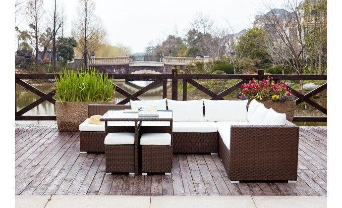 Fidji Marron/Blanc   Meubles terrasse   Salon de jardin ...