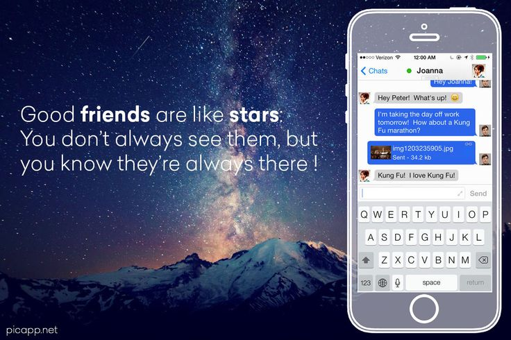 Good friends are like stars: you don't always see them, but you know they are always there! This cool image with mountain, stars and a transparent iPhone was created with an online tool: Picapp.net. #mountain #quote #picapp #stars #transparentiPhone