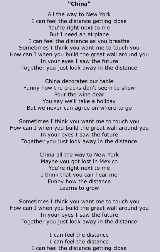 Tori Amos lyrics to the song China