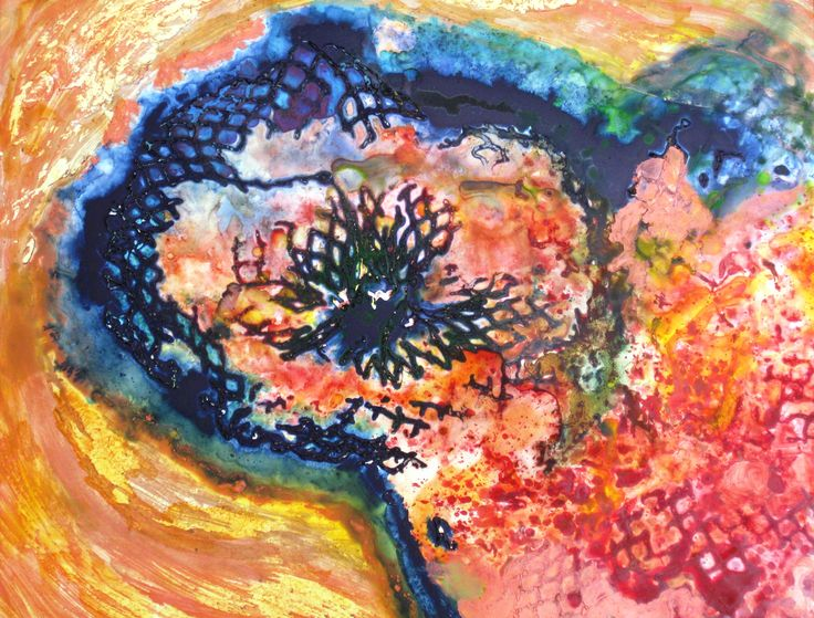 Blackening Hole - acrylic and watercolor on yupo paper. For artist contact information see rloliverartist.com.