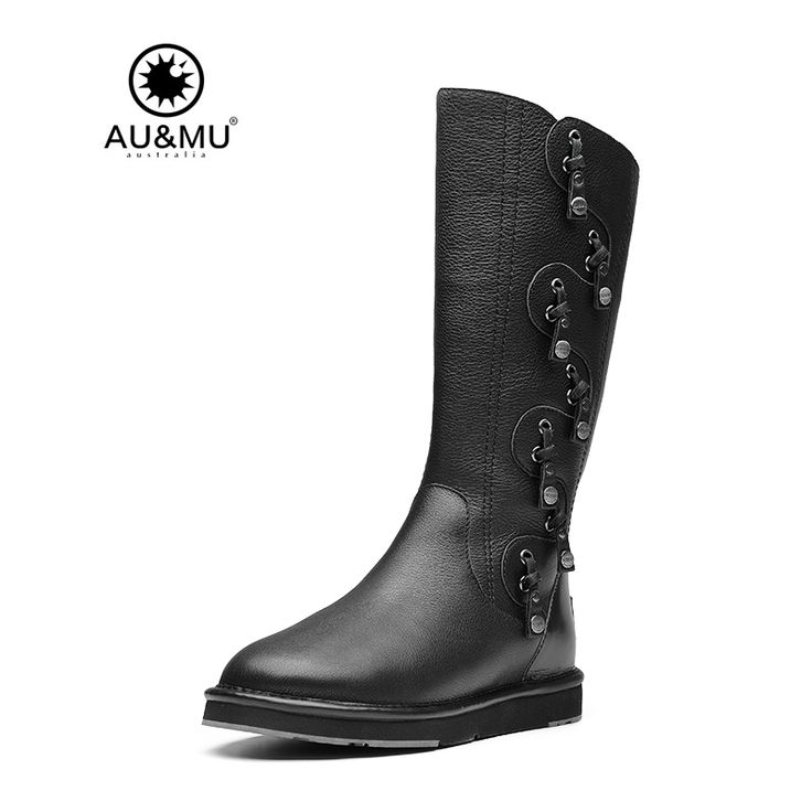 >> Click to Buy << 2017 Limited Promotion Flat With Winter Motorcycle Boots Slip-on Genuine 0-3cm Over-the-knee Winter Boots Botas Mujer Aumu N723  #Affiliate