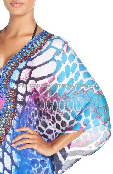 Source Latest Fashion Digital Print Polyester Kaftan/Beach Coverup With Multicolor Rhinestones on m.alibaba.com