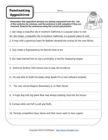 punctuating appositives grammar worksheets english. Black Bedroom Furniture Sets. Home Design Ideas