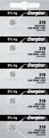 Energizer 319 silver oxide button cell, 5pc TS