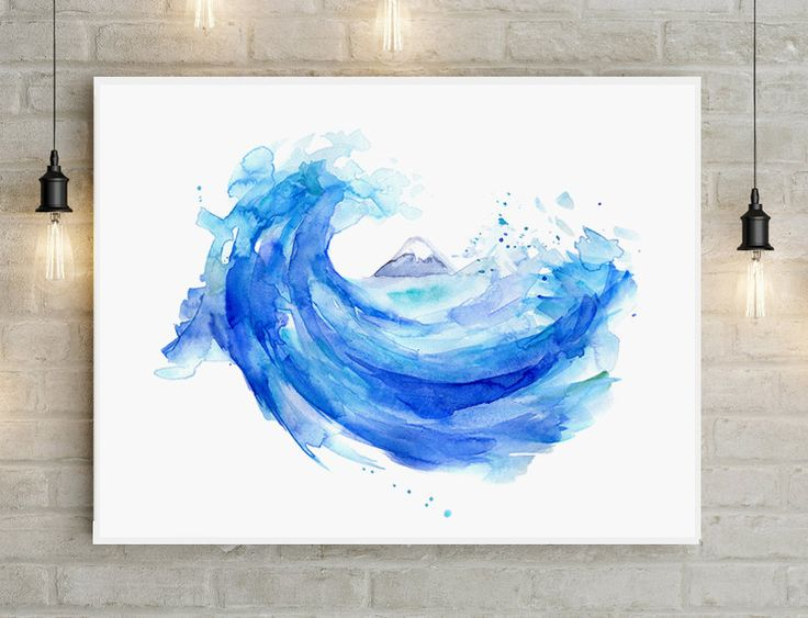 Hokusai Wave painting - Giclee print Mount Fuji art Japan painting Wave watercolor painting - zen