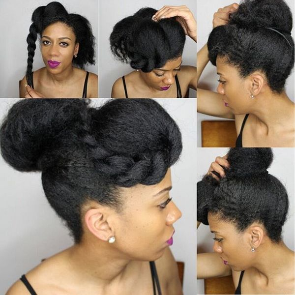 natural blow out kinky straight puff with bang by naturalista86