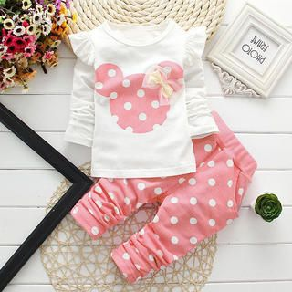 Baby Toddler Girls Disney Minnie Mouse Outfit Pink Polka Dots and Bow  So SWEET! Each NEW customer gets a 30% off coupon! Perfect for a trip vacation to Disneyland World or Cruise